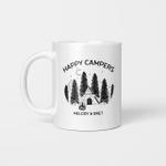 Personalized Happy Campers Campfire Mug,  Custom Enamel Mug