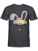 Cute Easter Bunny Face Pastel Tee For Girls