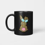 Happy Easter Cute Leopard Bunny Rabbit Mug