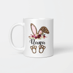 Nana Bunny Floral Leopard Plaid Nana Happy Easter Mother's Day Mug