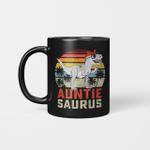 Auntiesaurus T-Rex Dinosaur Auntie Saurus Family Matching Vintage Mug