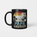 Papasaurus T-Rex Dinosaur Papa Saurus Family Matching Vintage Mug