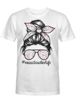 Music Teacher Messy Bun Life Hair Glasses Musical Notes Shirt