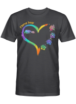 Personalized Mama Bear Heart Colorful Mother's Day Shirt Gift For Mom Custom T-Shirt