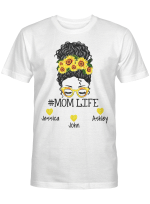 Personalized Mom Life Messy Bun Mother's Day Shirt Giift For Mom
