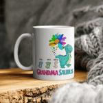 Grandma Mug, Custom Grandma Saurus Mug, Grandmasaurus Mug Gift For Mom, Flower Mug, Mother's Day Mug