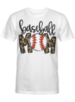 Baseball Mom Leopard Funny Softball Mom Shirt Mother's Day Gift T-Shirt
