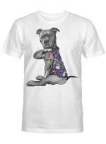 Flower Pitbull I Love Mom Pitbull Tattoo Mother's Day Shirt