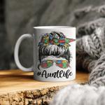 Autie Aunt Life Autism Awareness Messy Bun Girl Mother's Day Gift Mug