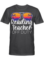 Reading Teacher Off Duty Sunglasses Beach Sunset Shirt