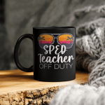 Special Education Sped Teacher Of The Deaf Off Duty Sunglasses Beach Sunset Mug