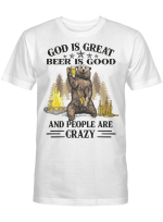 God Is Great BBQ Is Good And People Are Crazy Graphic Tee Shirt Funny Camping Shirts