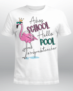 Adios School Hello Pool Flamingo 3rd Grade Teacher Shirt