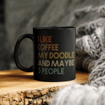 I Like Coffee My Doodle And Maybe 3 People Funny Goldendoodle Vintage Mug
