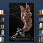 Sitting Angel Fantasy Art Cool Wall Decor Art Print on canvas, Beautiful Angel Wings Heaven Canvas