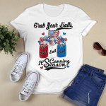 Canning 4th Of July Flag America T-Shirt Balls Flower Jar Shirt