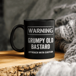 Warning Grumpy Old Bastard Approach With Caution Funny Quotes Mug