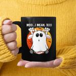 Vintage Ghost Cow Moo I Mean Boo Funny Halloween Cow Boo Retro Sunset Mug