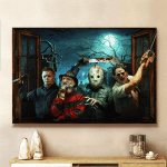 Horror Halloween Movies Characters Framed Canvas - Poster