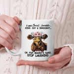 Cow I Am Sweet Lovable Kind Shy And Innocent Oh For Heaven's Sake Stop Laughing Mug Funny Cow Lovers