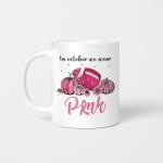 In October We Wear Pink Gnomes Breast Cancer Awareness Shirt Mug