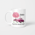 Pumpkin Pink Truck October Breast Cancer Awareness Month Mug