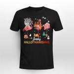 Happy HalloThanksmas Flamingo Halloween Thanksgiving Christmas T-Shirt