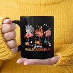 Happy HalloThanksmas Flamingo Halloween Thanksgiving Christmas Mug