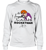 Rocketman  Freddie Mercury T Shirt Play The Piano Funny Graphic Women Queen Vintage Music Long Sleeve T-Shirt