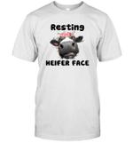 Resting Heifer Face Funny Cow Memes Farm Animal Lover T-Shirt