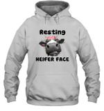 Resting Heifer Face Funny Cow Memes Farm Animal Lover Hoodie