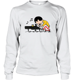 Freddie Mercury T Shirt Play The Piano Funny Graphic Women Queen Vintage Music Long Sleeve T-Shirt
