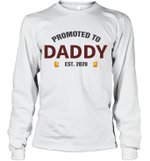 Promoted To Daddy 2020 Beer Lover Drinking Lover Drunk Dad Long Sleeve T-Shirt