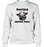 Resting Heifer Face Funny Cow Memes Farm Animal Lover Long Sleeve T-Shirt