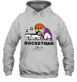 Rocketman  Freddie Mercury T Shirt Play The Piano Funny Graphic Women Queen Vintage Music Hoodie