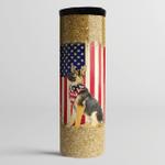 German Shepherd 4th July Independence Day American Flag - Skinny Tumbler