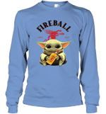 Baby Yoda Loves Fire Ball The Mandalorian Fan Long Sleeve T-Shirt