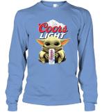 Baby Yoda Loves Coors Light Beer The Mandalorian Fan Long Sleeve T-Shirt