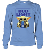 Baby Yoda Loves Bud Light Beer The Mandalorian Fan Long Sleeve T-Shirt
