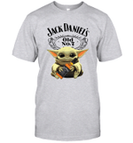 Baby Yoda Loves Jack Daniel_s The Mandalorian Fan T-Shirt