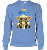 Baby Yoda Loves Corona Light Beer The Mandalorian Fan Long Sleeve T-Shirt