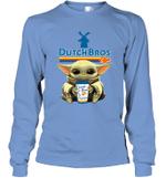 Baby Yoda Loves Dutch Bros Coffee The Mandalorian Fan Long Sleeve T-Shirt