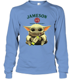 Baby Yoda Loves Jameson Irish Whiskey The Mandalorian Fan Long Sleeve T-Shirt