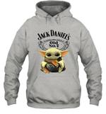 Baby Yoda Loves Jack Daniel_s The Mandalorian Fan Hoodie
