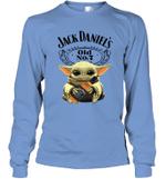 Baby Yoda Loves Jack Daniel_s The Mandalorian Fan Long Sleeve T-Shirt