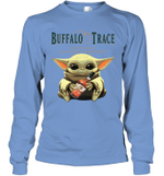 Baby Yoda Loves Buffalo Trace The Mandalorian Fan Long Sleeve T-Shirt