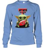 Baby Yoda Hug Texas Tech Red Raiders The Mandalorian Long Sleeve T-Shirt