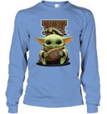 Baby Yoda Hug Western Michigan Broncos The Mandalorian Long Sleeve T-Shirt