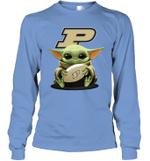 Baby Yoda Hug Purdue Boilermakers The Mandalorian Long Sleeve T-Shirt