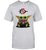Baby Yoda Hug San Diego State Aztecs The Mandalorian T-Shirt